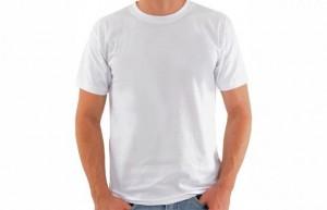 Camiseta de Algodão, Branca, Gola O, Masculina