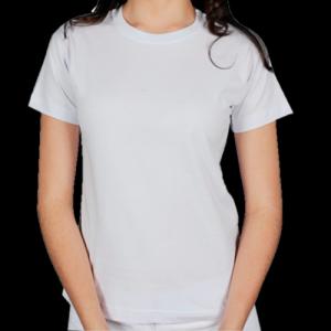 Camiseta de Algodão, Branca, Gola O, Feminina