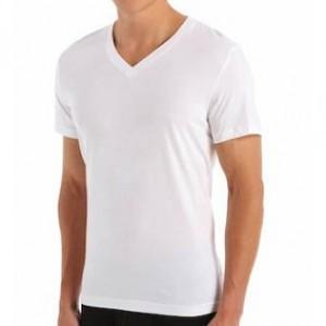 Camiseta de Algodão, Branca, Masculina, Gola V, Masculina