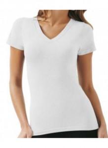 Camiseta de Algodão, branca, Gola V,  Feminina